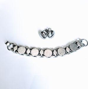 Vintage Silver Earring and Art Deco Bracelet Set